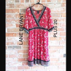 Red/Black Floral Dress By Lane Bryant EUC Plus 20